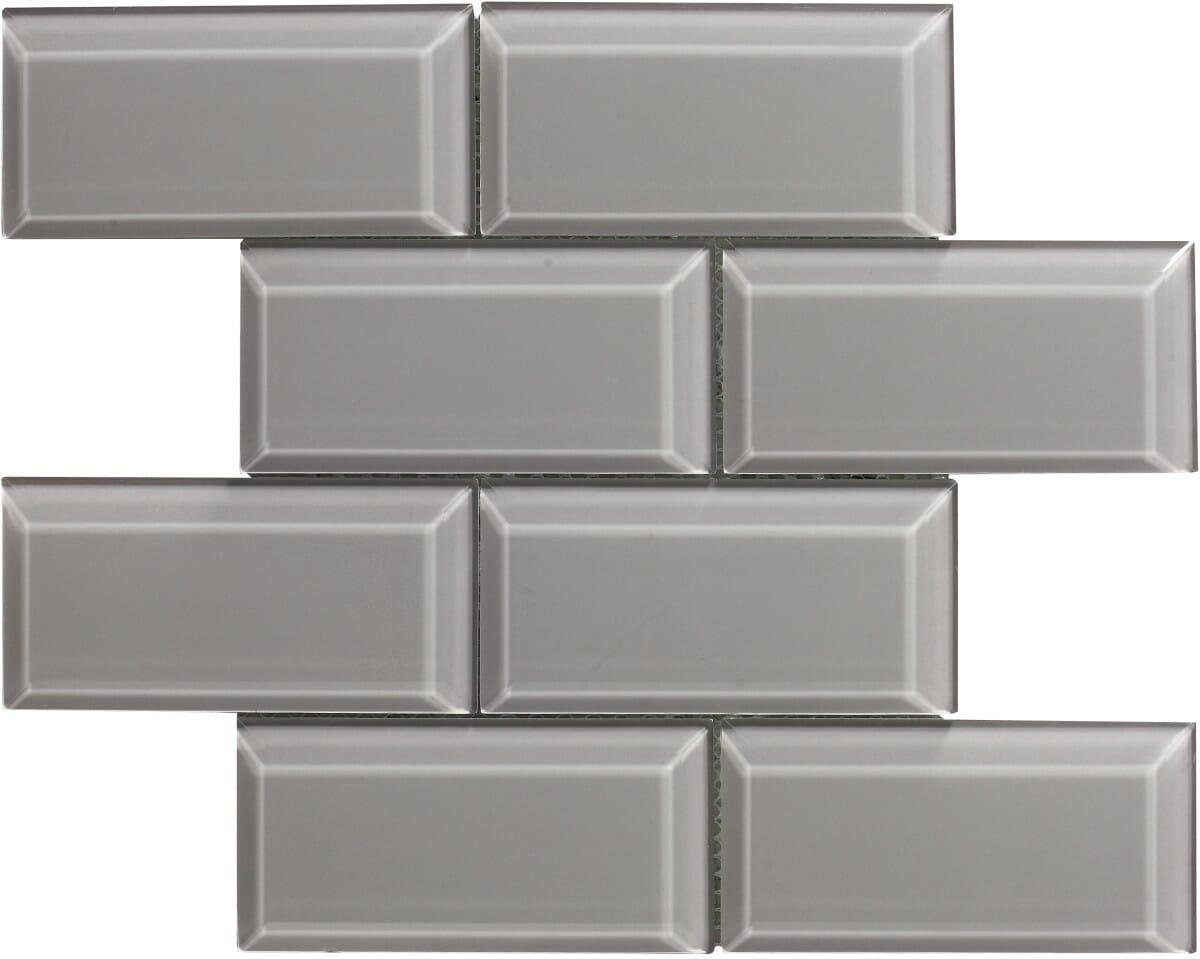 Metro Glass Grey Bevelled International Tiles
