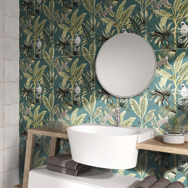 art-couture-green-floral-monkey-patterned-wall-tile